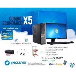 Combo de 5 Computadoras #4, Escritorios, Auriculares, Multifuncional y Accesorios