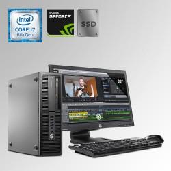 HP Prodesk 600 G2 Desktop Core i7 6ta. Gen. 40GB RAM DDR4, 240GB SSD, 1TB HDD, 2GB Video Nvidia